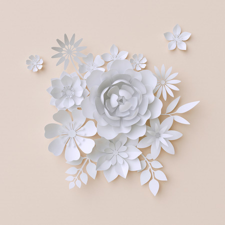 3d illustration, white paper flowers, decorative floral background, wedding album page, greeting card 写真素材