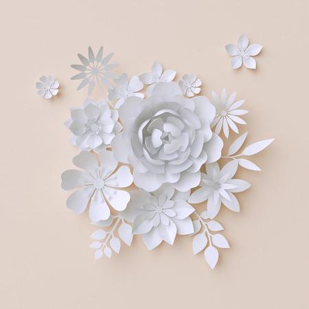 ilustracin d flores blancas de papel decoracin floral de fondo pgina lbum de