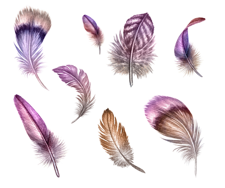 vintage fashion: watercolor boho illustration, pink feather, dream catcher, white background Stock Photo