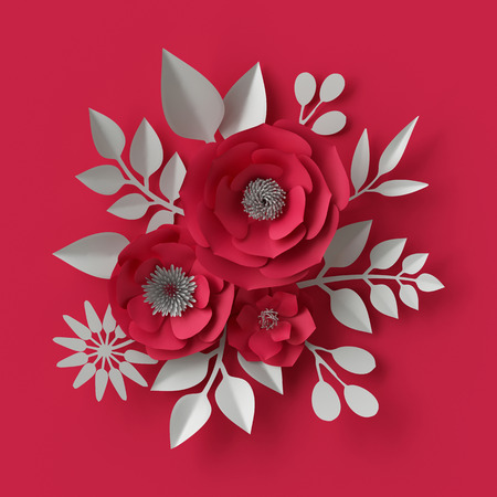 3d: 3d illustration, decorative red paper flowers background