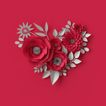 3d illustration, decorative red paper flowers background