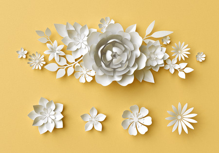 3d render, digital illustration, white paper flowers on yellow background, Easter floral composition, wedding card, quilling, Mothers day