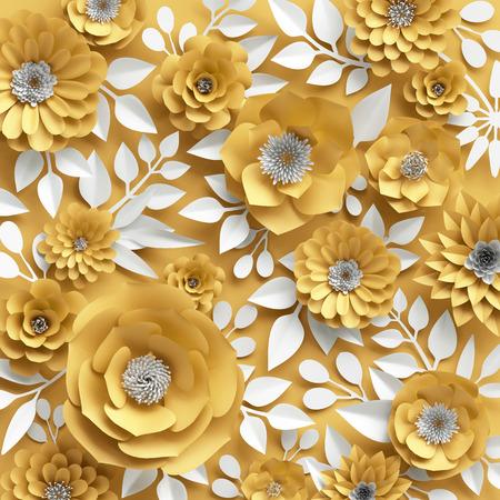 3D 그림, 장식 빨간 종이 꽃 배경