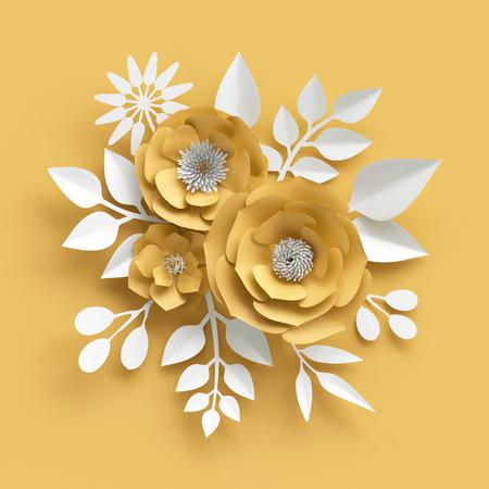 3d illustration, décoratif rouge fleurs en papier de fond Banque d'images - 74888368