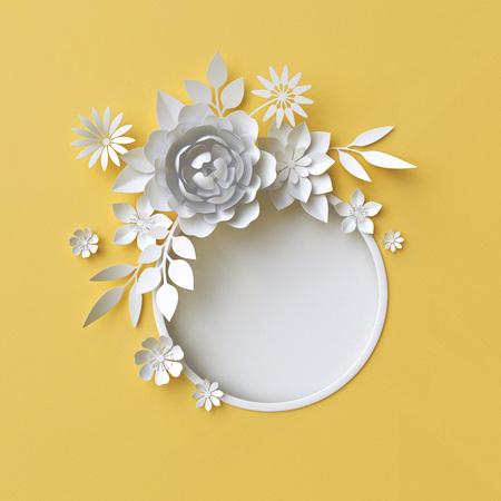 3d render, digitale illustratie, digitale illustratie, witte papier bloemen op gele achtergrond, Paas bloemen samenstelling, trouwkaart, quilling, Moederdag, ronde frame, blanco banner Stockfoto