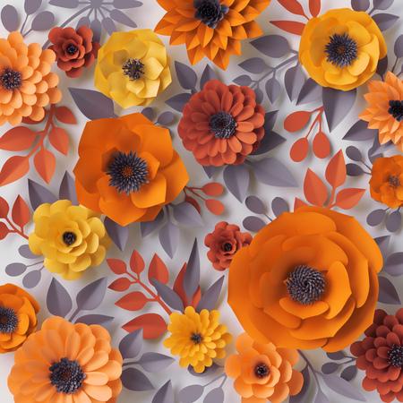 디지털 그림, 레드, 핑크 종이 꽃, 신부 부케, 웨딩 카드, 관상 주름을 달기, 발렌타인 데이 인사말 카드, 정원, 아름 다운 피 벽 3d 렌더링