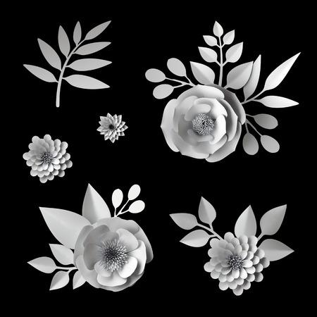 3d white paper flowers, design elements collection, clip art set, isolated on black background Foto de archivo
