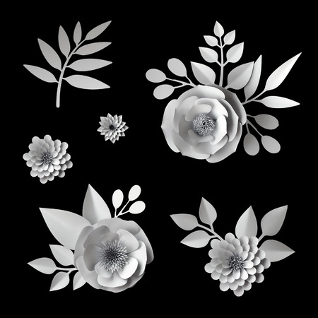 3d white paper flowers, design elements collection, clip art set, isolated on black background Stockfoto