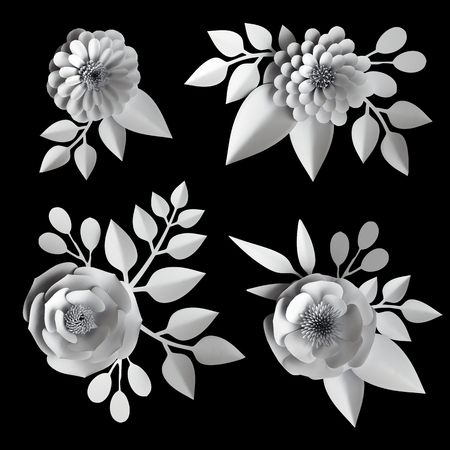 3d white paper flowers, design elements collection, clip art set, isolated on black background 스톡 콘텐츠