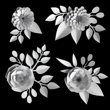 3d flores de papel blanco, colección de elementos de diseño, conjunto de imágenes prediseñadas, aisladas sobre fondo negro Foto de archivo - 77083917