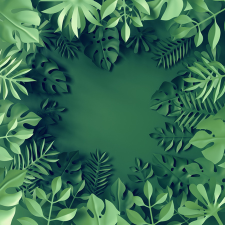 3d tropical paper leaves, green scene background, jungle, frame Stock Photo