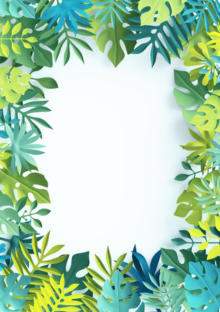 3d tropical paper leaves, jungle wallpaper, vertical frame, white background Stock Photo