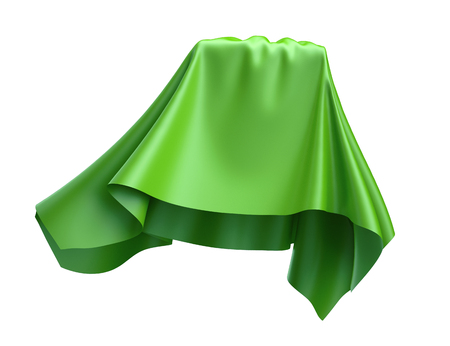3d render, abstract flying cloth, fresh green, unveil, dynamic falling drapery, textile isolated on white background