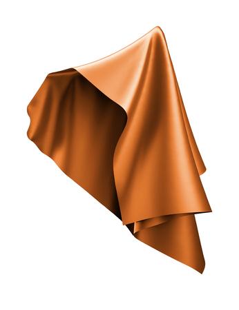 3 d レンダリング、抽象的な布、銅オレンジのカーテン、白い背景に分離された繊維を飛んで