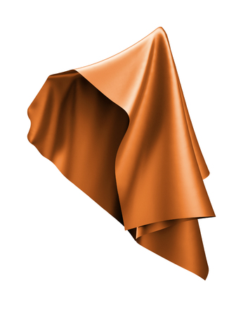 3D render, abstract vliegende doek, oranje koperen draperie, textiel geïsoleerd op een witte achtergrond Stockfoto - 77315343
