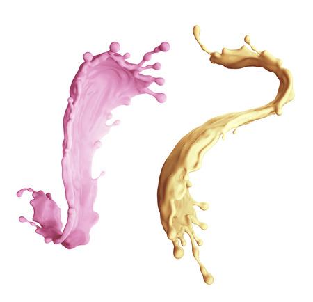 3d illustration, liquid splashing, food, drink, juice, paint, assorted splashes isolated on white background