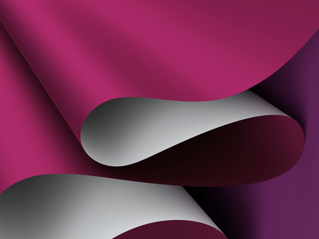 line up: 3d render, paper waves background, modern mock up, burgundy wavy folds Stock Photo