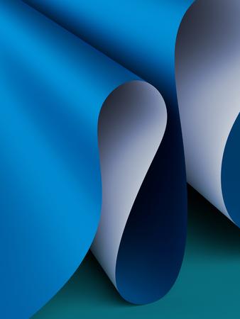 tiefe: 3d render, papierwellen hintergrund, modern mock up, blaue wellenförmige falten