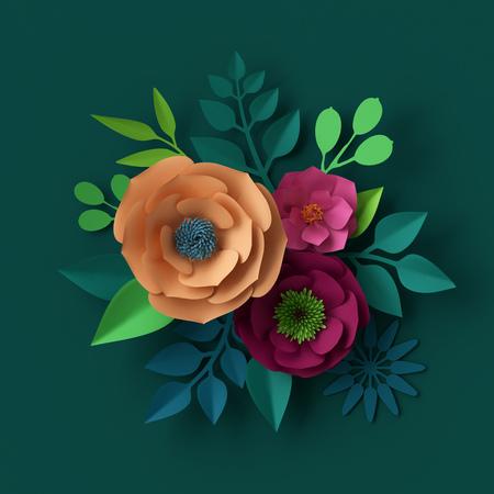 3d render, digital illustration, colorful paper flowers wallpaper, spring summer background Stock Photo