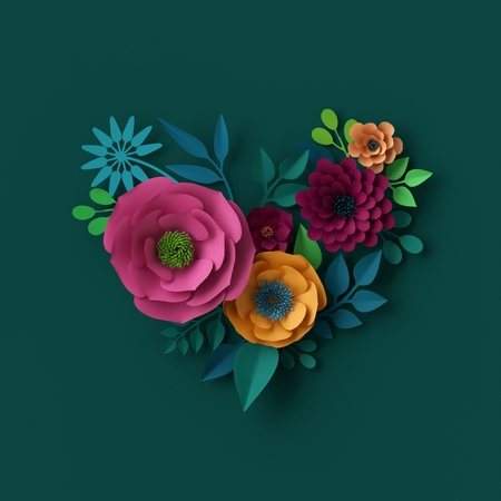 3d illustration, paper flowers, floral heart shape, boho bridal bouquet, Valentines day greeting card Stock Photo