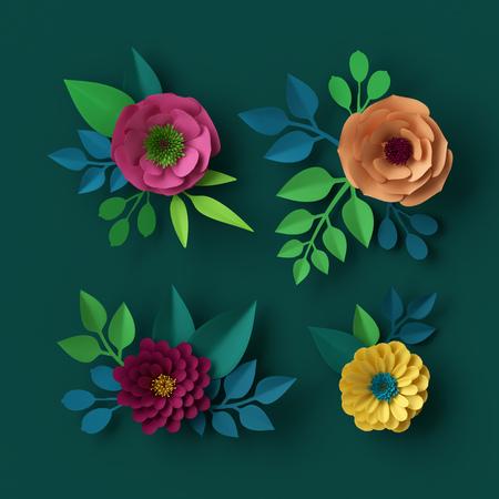 3d render, digital illustration, colorful paper flowers wallpaper, spring summer background, floral design elements
