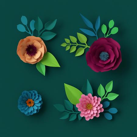 orange rose: 3d render, digital illustration, colorful paper flowers wallpaper, spring summer background, floral design elements