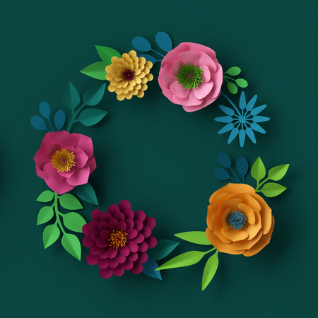 digital: 3d render, digital illustration, colorful paper flowers wallpaper, summer background, round wreath, spring holiday frame