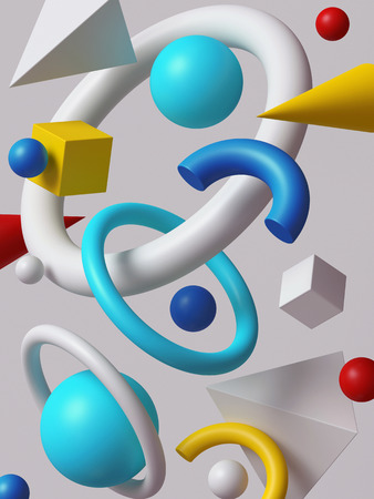 digital: 3d render, abstract background, falling geometric primitive shapes, colorful elements on white background