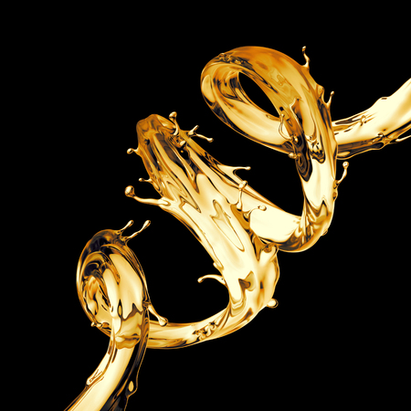 3d illustration, clear yellow spiral jet, lemonade, tea, oil splash, alcohol liquid wave, splashing loops, curvy line, isolated on black background