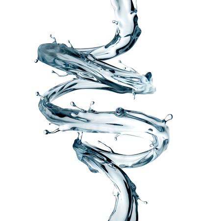 3d rendono, getto a spirale dell'acqua, spruzzata libera, onda liquida, cicli, linea formosa, isolata su fondo bianco Archivio Fotografico