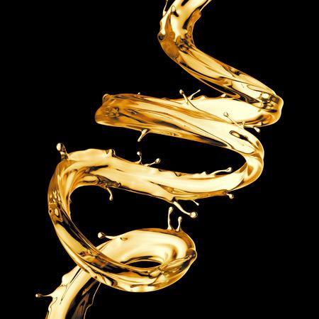 3D render, duidelijk gele spiraalstraal, limonade, thee, olie splash, alcohol vloeibare golf, spatten lussen, curvy lijn, geïsoleerd op zwarte achtergrond
