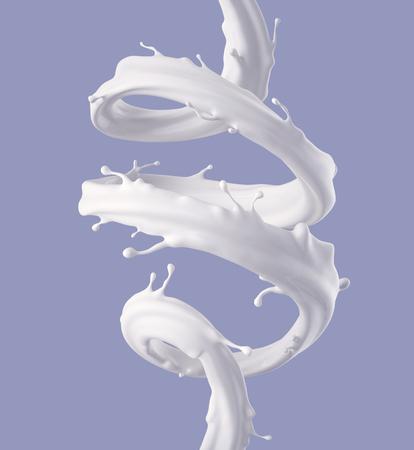 Procesamiento 3d, espiral de leche de chorro, salpicaduras de color blanco, onda líquida, pintura, bucles, línea curvy, fondo pastel Foto de archivo - 77244619