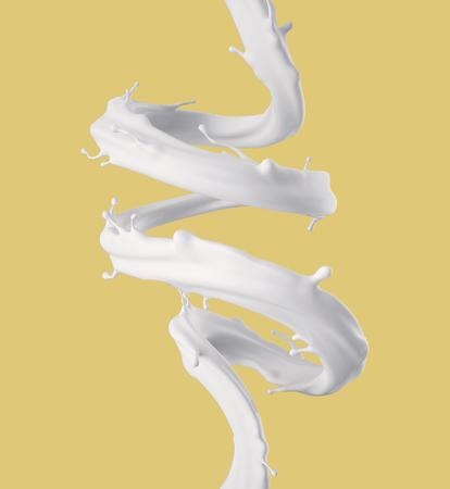 3d geef, melk spiraalvormige straal, witte plons, vloeibare golf, verf, lijnen, curvy lijn, gele achtergrond terug