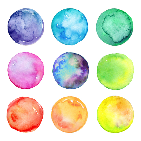 abstract watercolor circles, mixed pastel colors, hand painted round design elements, clip art set