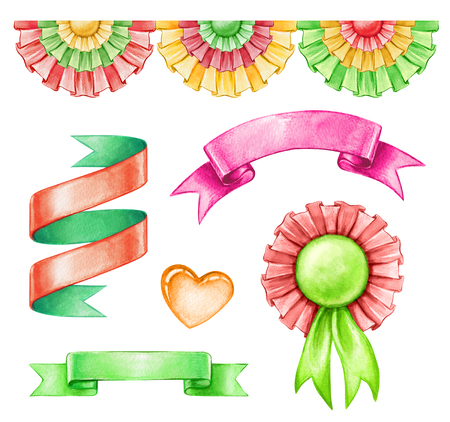 rainbow: watercolor illustration, Mexican holiday clip art, isolated objects set, ribbons, bunting, festive ethnic design elements