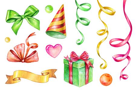 Ilustración de acuarela, elementos de diseño de fiesta aislados sobre fondo blanco, serpentina, caja de regalo, etiqueta de cinta, arco, conjunto de imágenes prediseñadas de cumpleaños Foto de archivo - 77079792