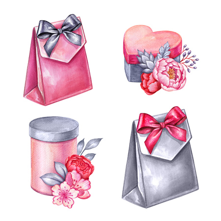 watercolor illustration, gift boxes pile, floral decoration, Valentines day clip art, birthday presents, design elements isolated on white background