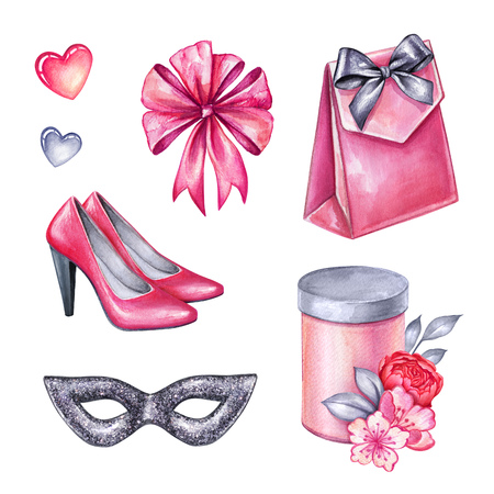 watercolor illustration, Valentines day clip art set, party objects, bridal accessories, carnival design elements isolated on white background Stock Photo