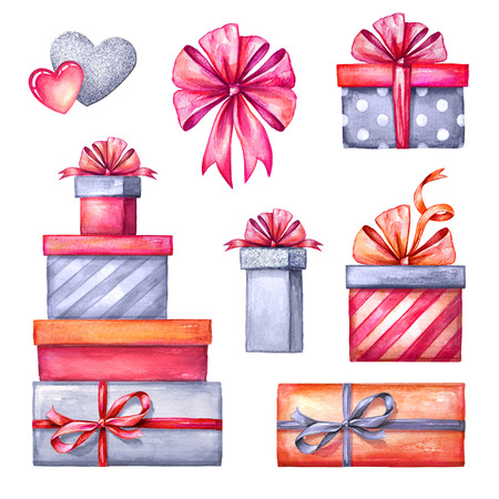 white boxes: watercolor illustration, Valentines day clip art set, gift boxes, party accessories, festive design elements isolated on white background Stock Photo