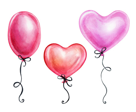 holiday party: watercolor illustration, cute pink air balloons, Valentines day clip art, birthday gift, design elements isolated on white background Stock Photo