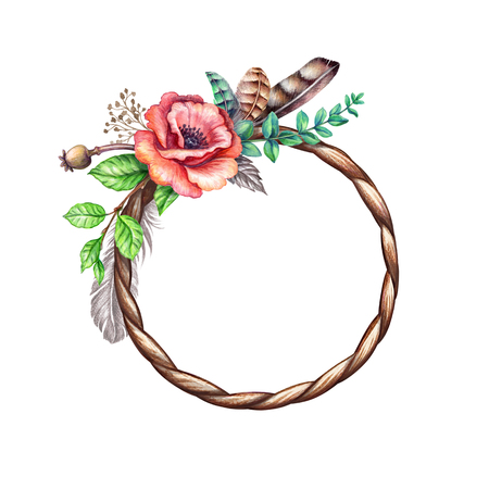 watercolor boho illustration, tribal wreath, floral round frame, spring, rustic flowers, Easter decoration