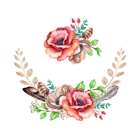 watercolour: watercolor boho illustration, tribal, floral bouquet, rustic flowers decoration