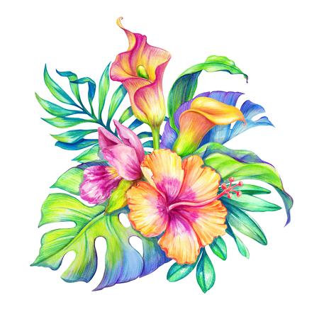 Aquarel bloemenillustratie, exotische natuur, tropische bloemen boeket, orchidee, hibiscus, calalelie, groene palmbladeren, geïsoleerd op witte achtergrond