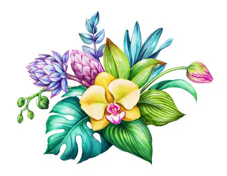 Aquarel bloemen illustratie, exotische natuur, tropische bloemen boeket, orchidee, groene bladeren, geïsoleerd op een witte achtergrond
