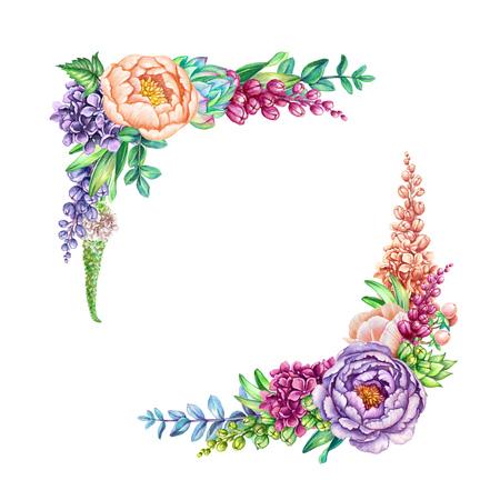 aquarel illustratie, florale achtergrond, wilde bloemen, boeket, uitnodiging, lege kaartsjabloon, hoek ontwerpelement geïsoleerd op wit Stockfoto