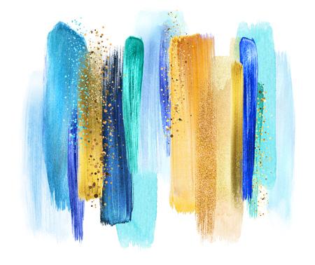 Trazos abstractos del cepillo de la acuarela, ejemplo creativo, paleta de colores artística, oro del azul de turquesa Foto de archivo - 77079953