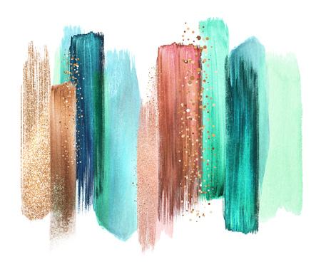Traits de brosses d'aquarelle abstraites, illustration créative, palette de couleurs artistiques, cuivre à la menthe Banque d'images - 77079950
