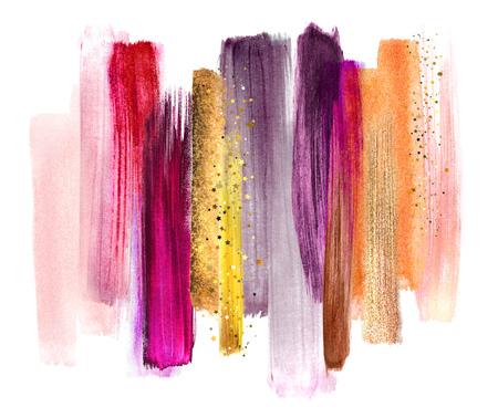 Traits de brosses aquarelles abstrait, illustration créative, palette de couleurs artistiques, or rouge fucsia