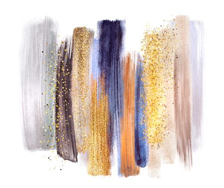 Tratti pennello acquerello astratto, illustrazione creativa, tavolozza di colori artistici, oro blu