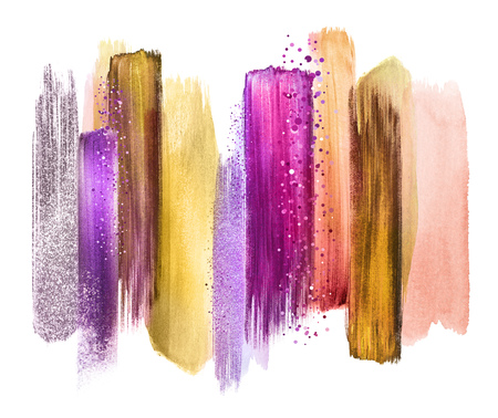 abstract watercolor brush strokes, creative illustration, artistic color palette Stock Photo